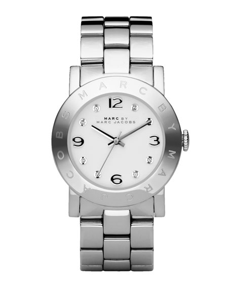 Amy Crystal Analog Watch with Bracelet, Stainless/White
