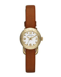 MARC by Marc Jacobs 20mm Amy Analog Watch with Tan Strap, Yellow Gold