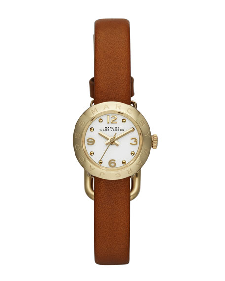 20mm Amy Analog Watch with Tan Strap, Yellow Gold