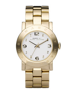 MARC by Marc Jacobs Amy Crystal Analog Watch with Bracelet, Yellow Golden