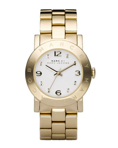 Amy Crystal Analog Watch with Bracelet, Yellow Golden