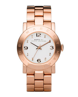 MARC by Marc Jacobs Amy Crystal Analog Watch with Bracelet, Rose Golden