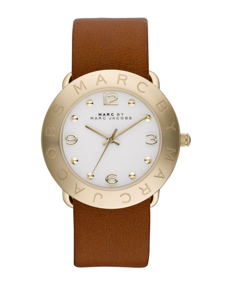 36mm Amy Analog Watch with Tan Strap, Yellow Gold
