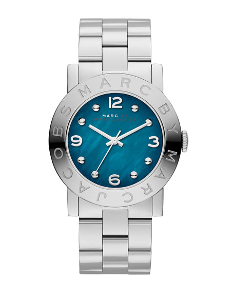 Amy Analog Watch with Bracelet, Stainless/Teal