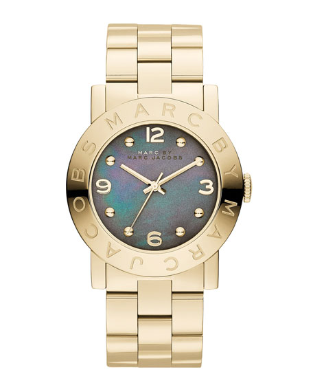 Amy Analog Watch with Bracelet, Yellow Gold/Dirty Martini