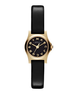 MARC by Marc Jacobs Henry Dinky Analog Watch with Leather Strap, Golden/Black