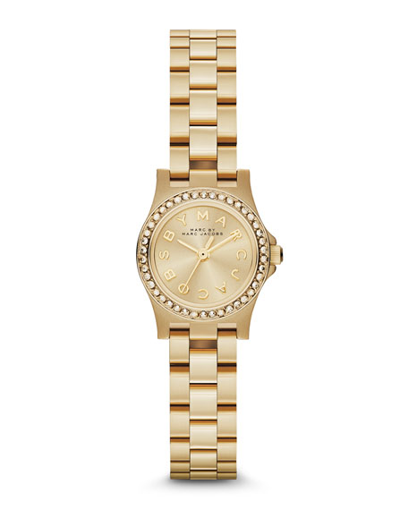 Henry Dinky Pave-Crystal Watch, Yellow Golden