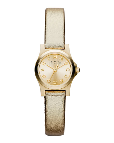 Henry Dinky Analog Watch with Leather Strap, Golden