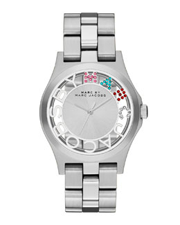 MARC by Marc Jacobs Henry Skeleton Crystal Watch, Stainless