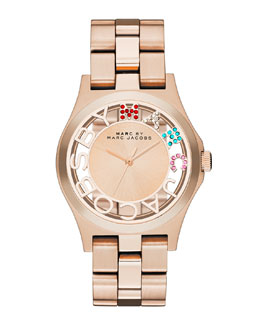 MARC by Marc Jacobs Henry Skeleton Crystal Watch, Rose Golden