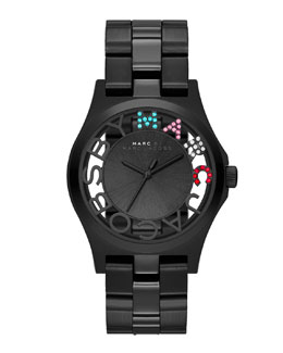 MARC by Marc Jacobs Henry Skeleton Crystal Watch, Black