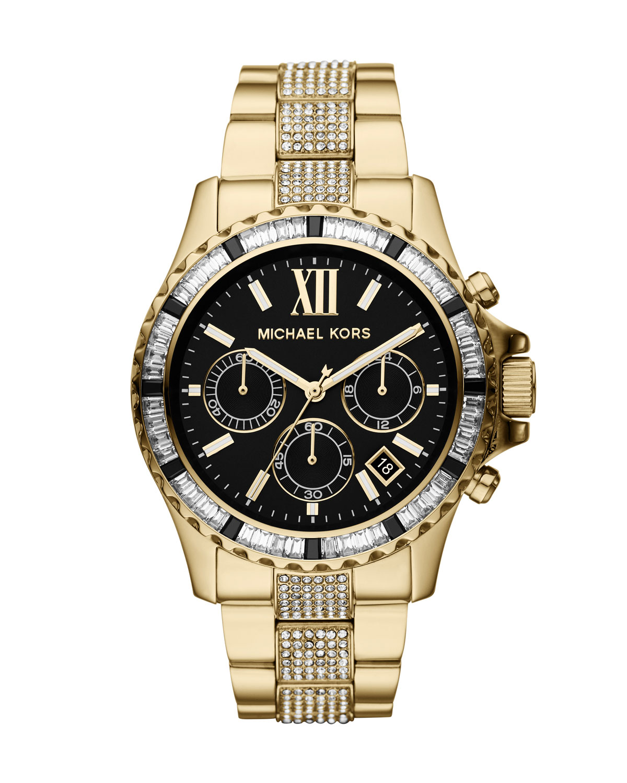 d8bf500a905f Michael Kors Golden Stainless Steel Everest Chronograph Glitz Watch ...
