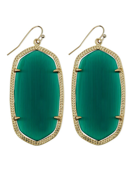 Gold-Plated Danielle Earrings, Emerald Green