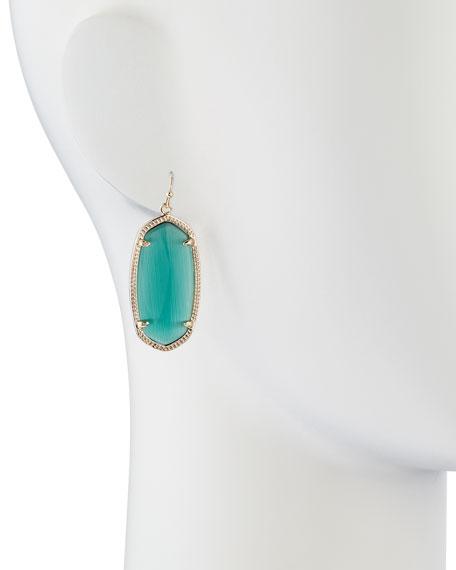 Gold-Plated Elle Earrings, Emerald Green