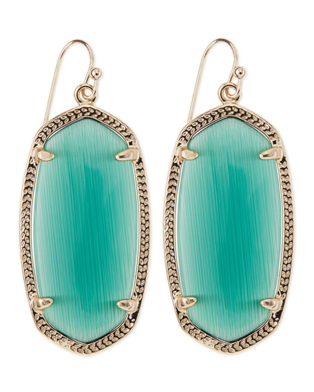 Gold-Plated Elle Earrings, Emerald Green