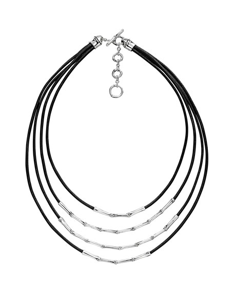 John Hardy Bamboo Silver Four Row Necklace, Black