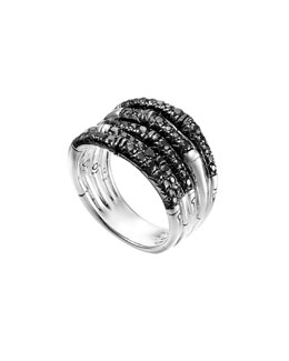 John Hardy Bamboo Lava Wide Ring with Black Sapphires