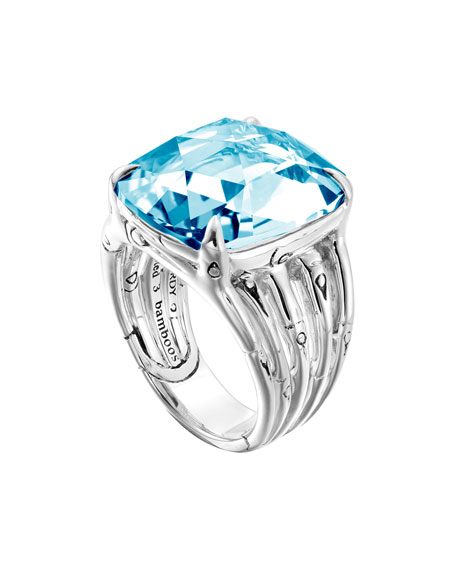 Large Bamboo Silver Ring with Octagon Sky Blue Topaz