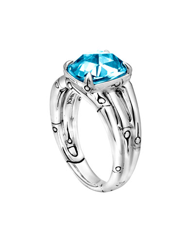 John Hardy Small Bamboo Silver Ring with Octagon Sky Blue Topaz