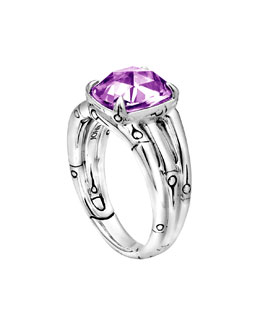 John Hardy Small Bamboo Silver Ring with Octagon Amethyst