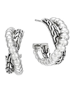 John Hardy Classic Chain Silver Small Twist Hoop Earrings
