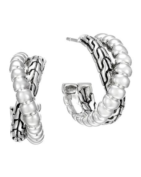 Classic Chain Silver Small Twist Hoop Earrings
