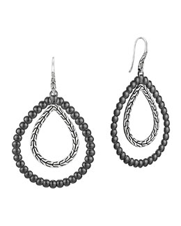 John Hardy Classic Chain Silver Double Drop Pear-Shape Earrings
