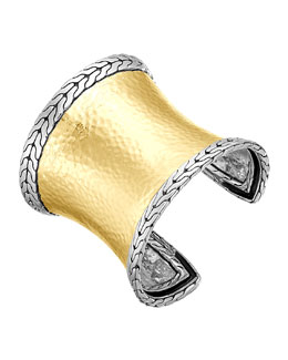 John Hardy Classic Chain Palu Silver & Gold Wide Cuff