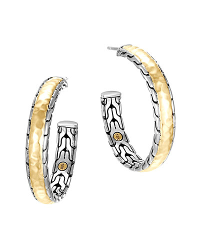 John Hardy Classic Chain Palu Silver & Gold Hoop Earrings