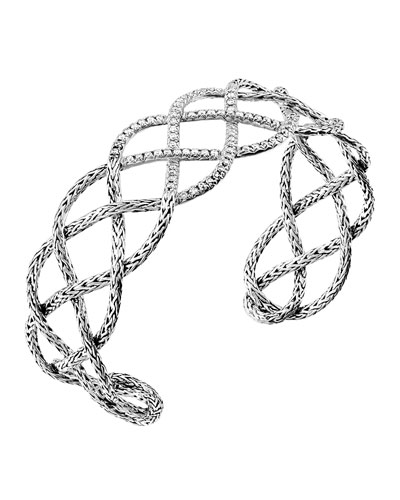 John Hardy Classic Chain Pave Diamond Braided Cuff