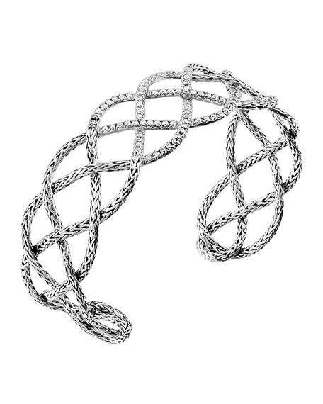 John Hardy Classic Chain Pave Diamond Braided Cuff