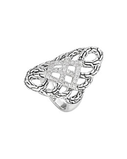 John Hardy Classic Chain Pave Diamond Braided Saddle Ring