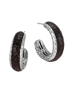 John Hardy Palu Silver & Rosewood Small Hoop Earrings