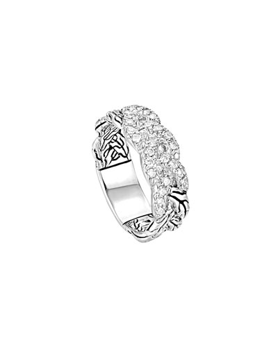 John Hardy Classic Chain Pave Diamond Braided Band Ring