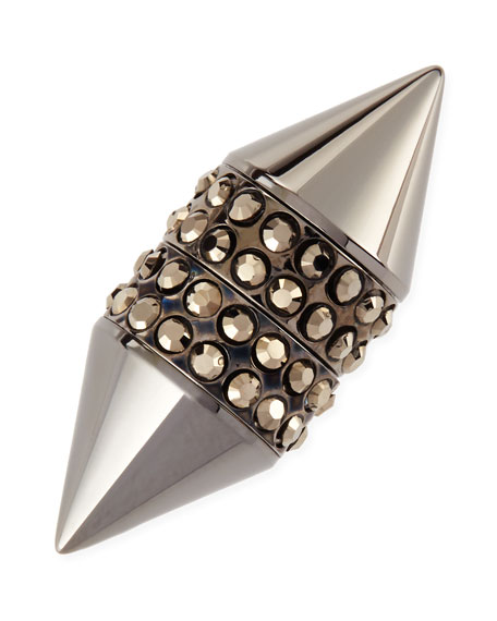 Single Dark Ruthenium Small Double Cone Magnetic Shark Earring with Crystals