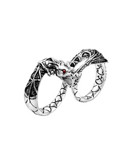 John Hardy Naga Silver Two-Finger Dragon Ring