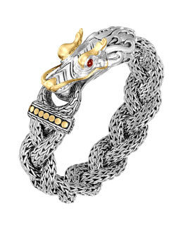 John Hardy Naga Silver & 18k Gold Large Dragon Head Bracelet