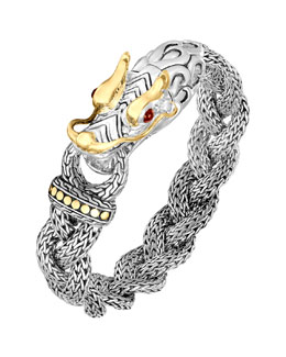 John Hardy Naga Silver & 18k Gold Medium Dragon Head Bracelet