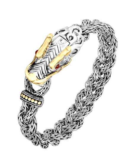 Naga Silver & 18k Gold Small Dragon Head Bracelet