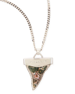 Givenchy Silvertone Doubled Shark Tooth Necklace, Jasper/Rhodonite