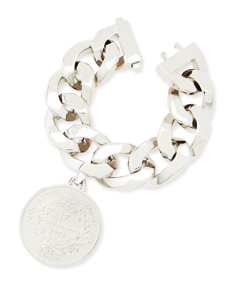 Silvertone Medallion Bracelet