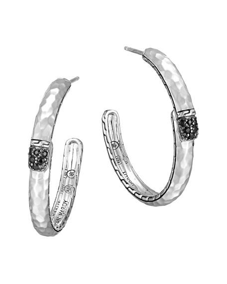 Sterling Silver Medium Hoop Earrings with Black Sapphires