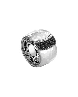 John Hardy Wide Sterling Silver Overlap Band Ring with Black Sapphires