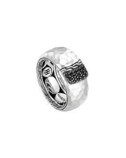 John Hardy Slim Sterling Silver Overlap Band Ring with Black Sapphires