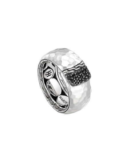 Slim Sterling Silver Overlap Band Ring with Black Sapphires