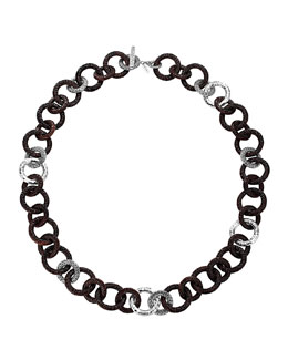 John Hardy Rosewood & Silver Link Necklace