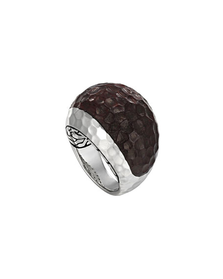 Small Silver & Rosewood Dome Ring