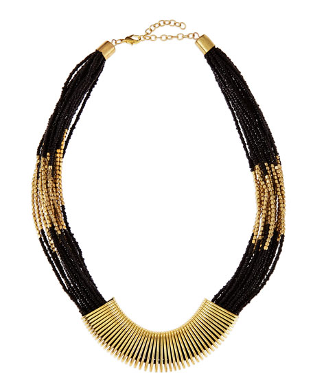 Golden-Wrapped Beaded Necklace, Black
