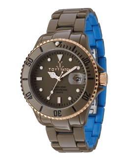 Toy Watch ToyMrHyde Two-Tone Plasteramic Watch, Olive/Blue