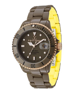 Toy Watch ToyMrHyde Two-Tone Plasteramic Watch, Olive/Yellow
